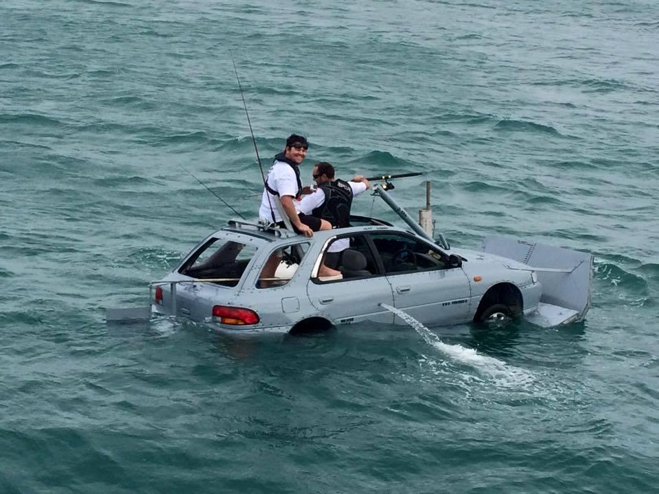 Floating Subaru Among New Zealand Fish Tourney