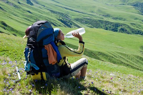 hiker drinking