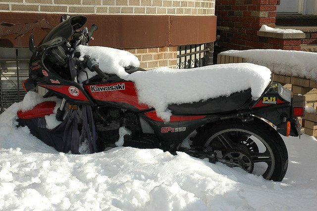 motocycle in snow