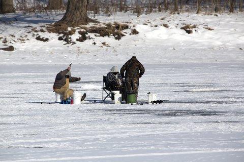 ice fishing group