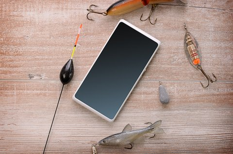 smartphone with fishing gear