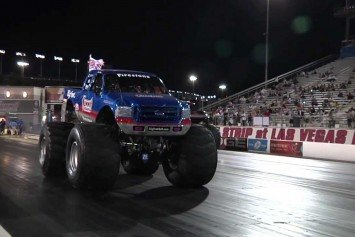 Watch Big Foot Drag Race a Jet Car