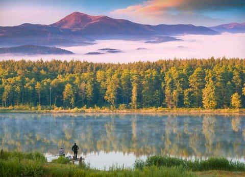 fishing lake dusk