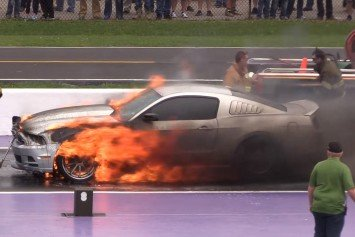 Watch a Mustang Burst into Flames on the Line