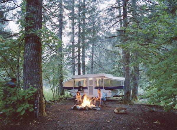 Trailer in woods