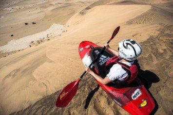 Red Bull Sends Kayaker to Sand Dunes in Namibia