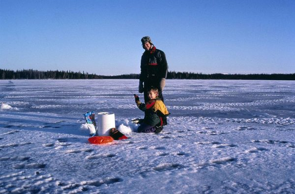 ice fishing father son