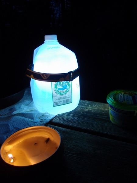 Make a lantern out of a water jug